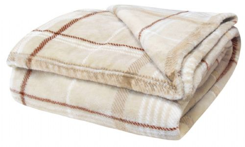 TARTAN CHECK LUXURY FLEECE SOFT WARM THICK PLUSH BLANKET CREAM COLOUR 130CM X 180CM